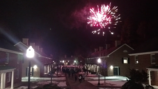 Students+sprinted+out+to+the+courtyard+in+Uppers+after+the+winning+touchdown+to+celebrate.