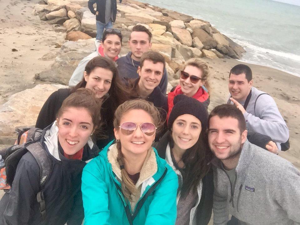 Students Jessica Vaillancourt, Marissa DeAngelis, Mae Hunt, Thomas Case, Maria Benitz, Matthew McKeon, Nicole DeRoche, Joe Geraghty, Aileen Callahan, and JT Nichols visit Tarquinia, Italy.