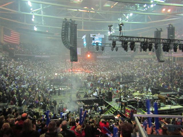 Romney supporters gathered at the Verizon Arena on November 5