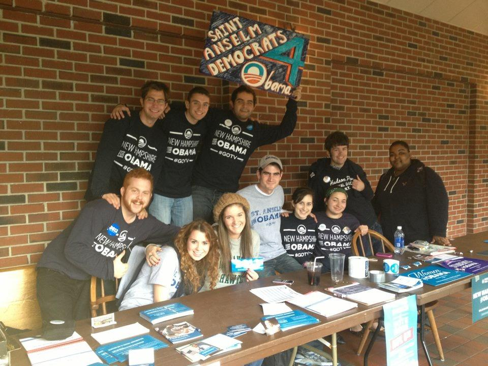 Saint Anselm students campaign on campus for the President days before the election.