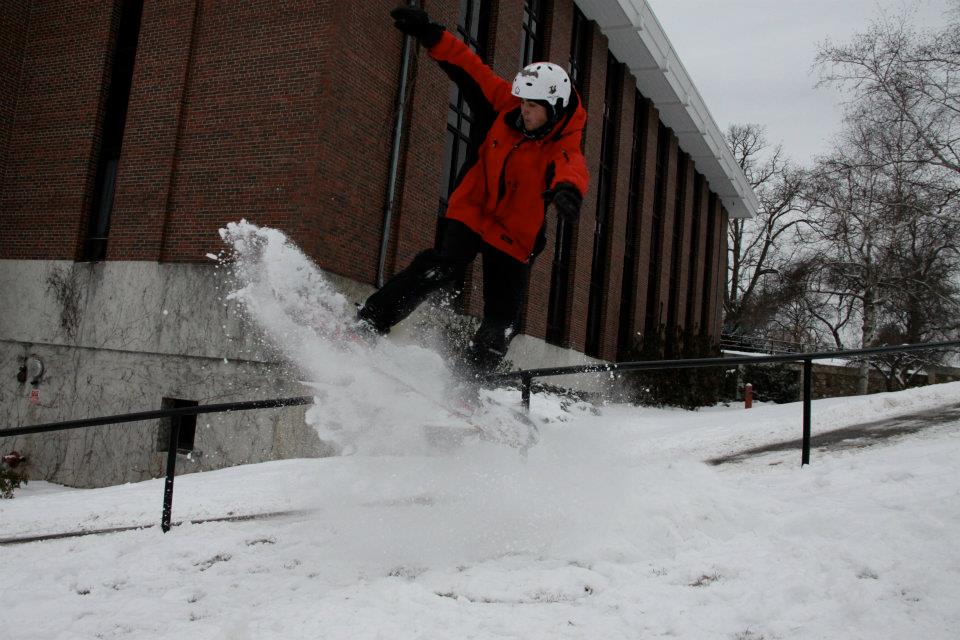 recent blizzard has mad conditions perfect for snowboarding on the Hilltop