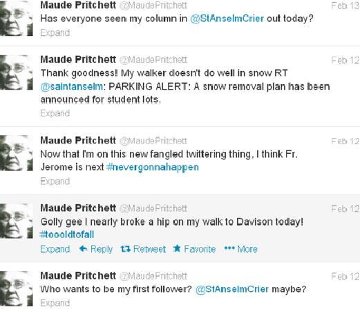 Follow @MaudePritchett on Twitter to read more of her entertaining tweets!