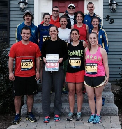 Six runners from the Hilltop gathered Monday before the Boston Marathon