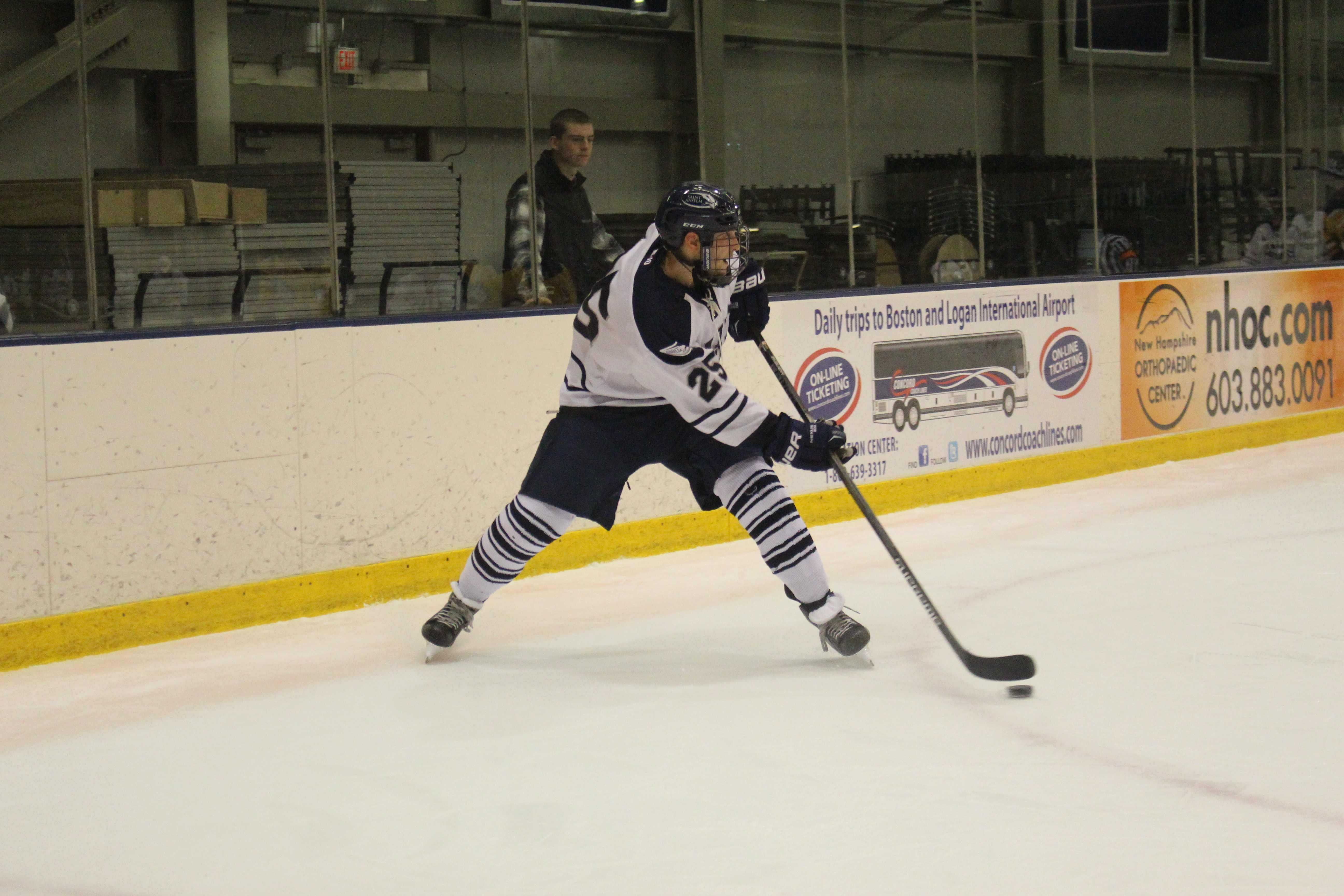 Senior co-alternate captain Vin D'Amato on the ice for the Hawks against SNHU last season.