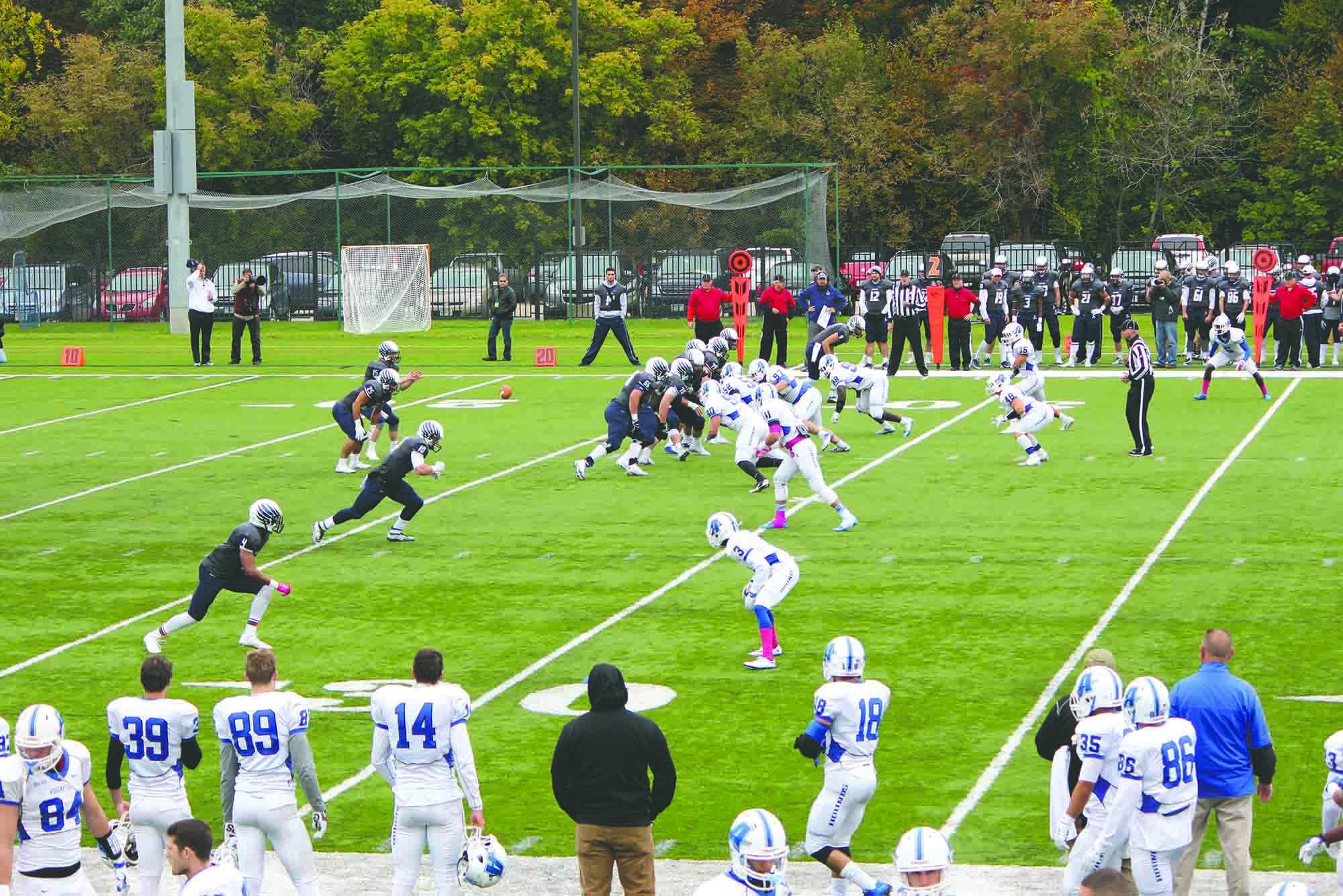 The St. A's football team on the field last season.