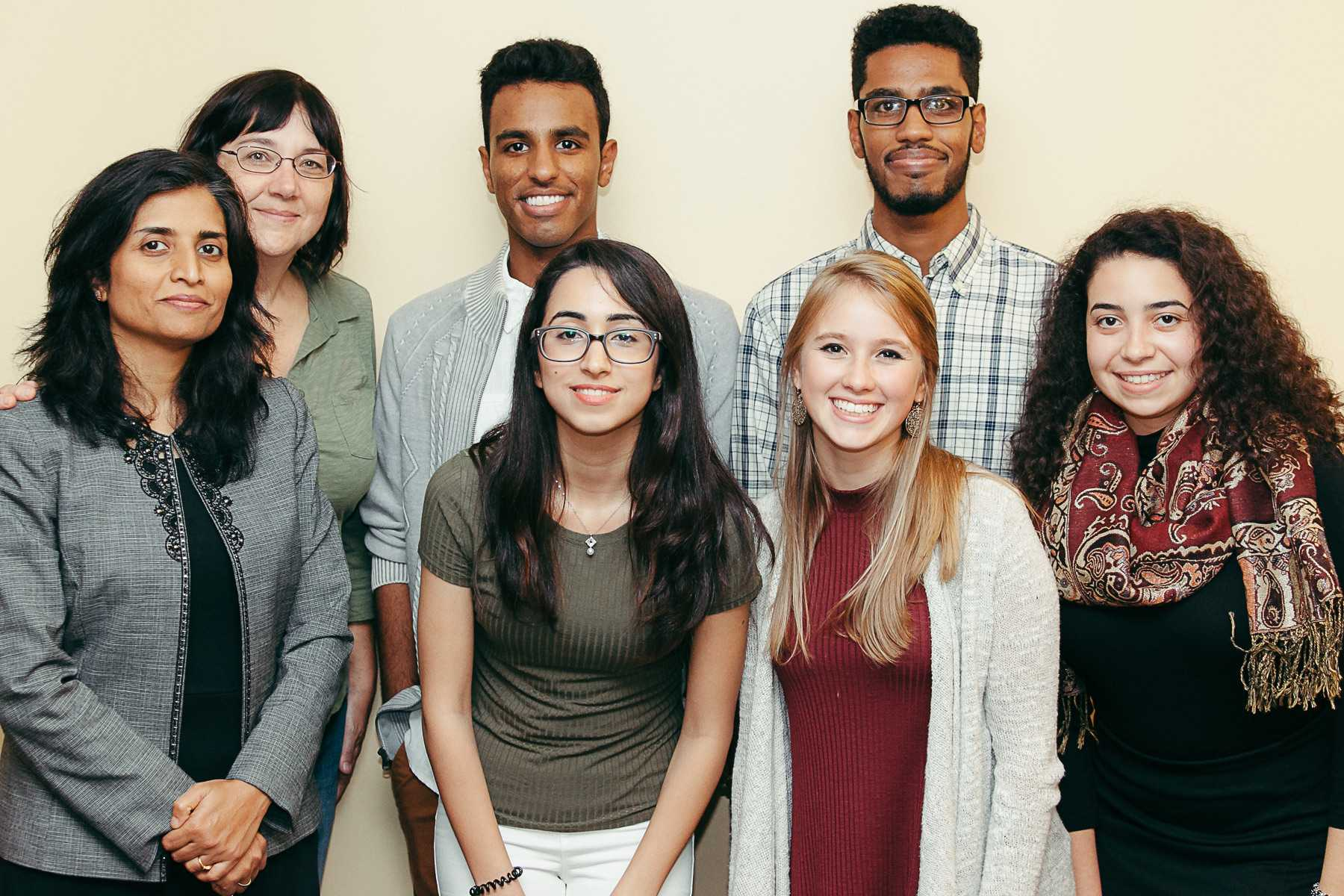 Students from the Muslim Student Association with Professor Jennifer Thorn and speaker Shua Khan Arshad at EID dinner.