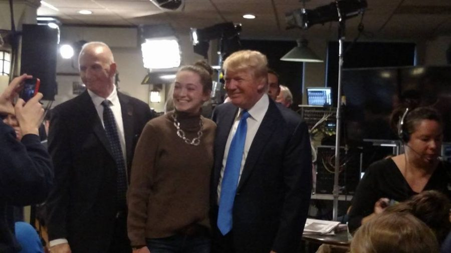 Trump taking pictures with students after his appearance on 'Morning Joe' in the coffee shop last year.