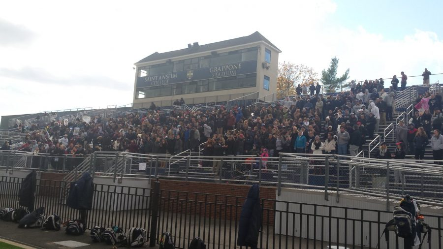 The crowd of nearly 500 fans in attendance following Mooney's game-tying goal to force overtime.