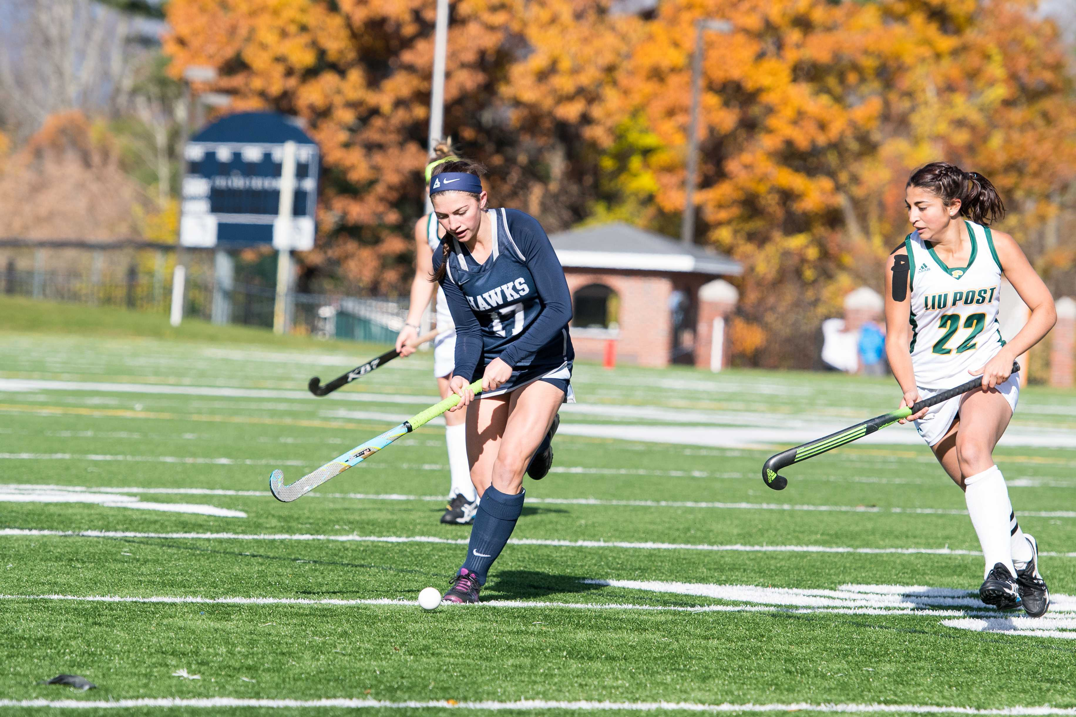 Senior captain Rose Mooney on the field for the Hawks against LIU Post on Nov. 6.