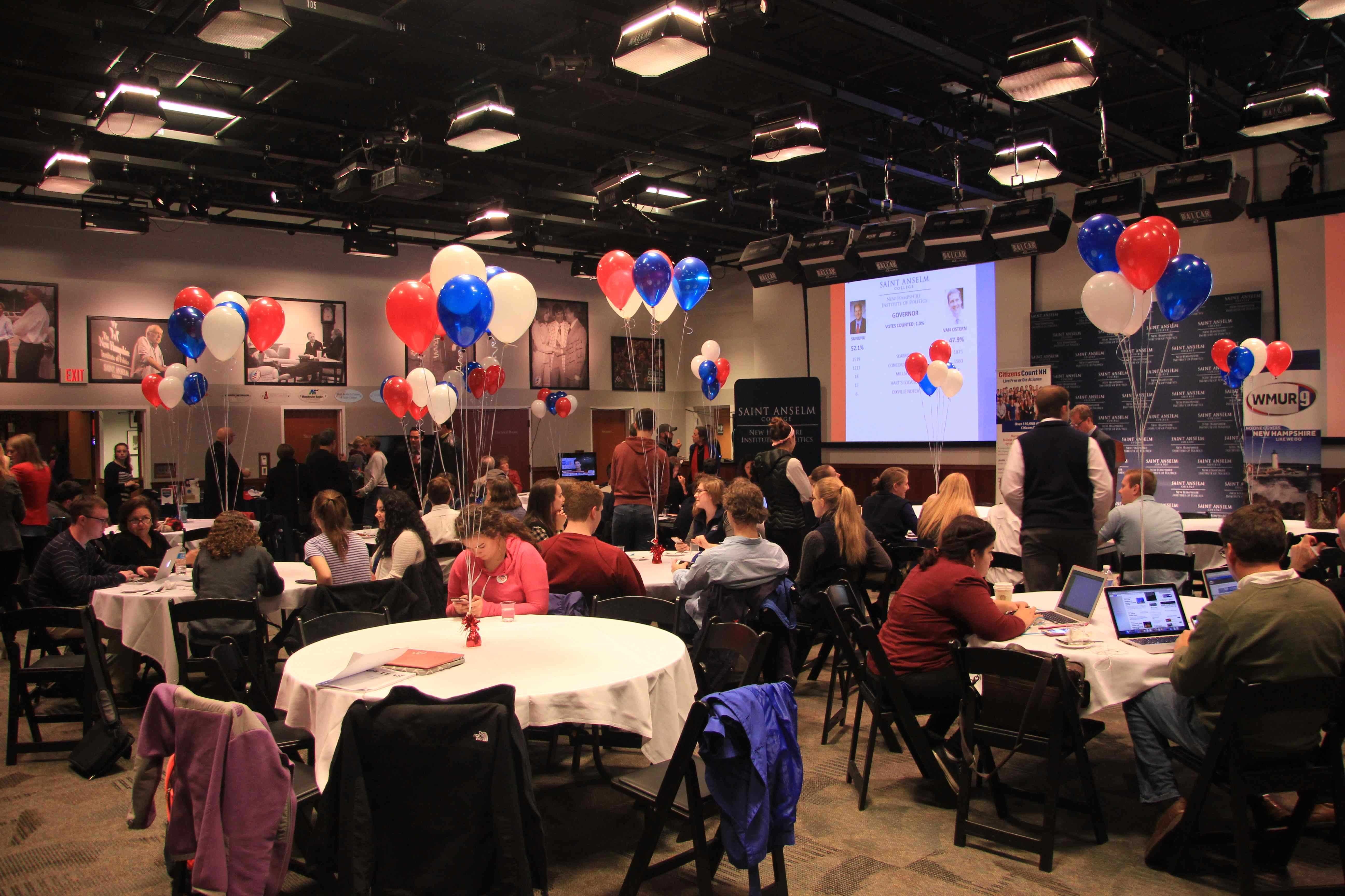 The scene in the NHIOP Auditorium on election night.