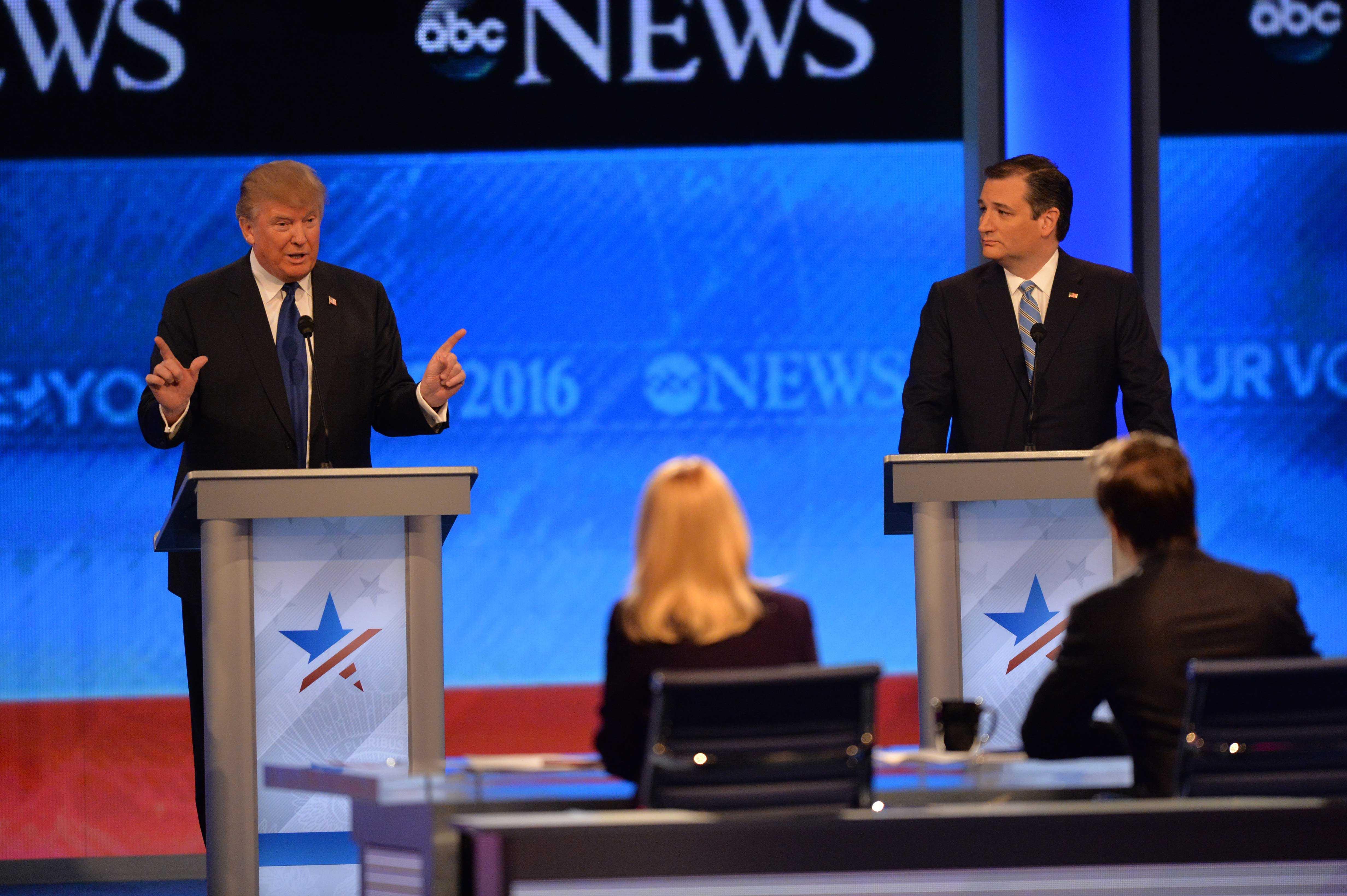 Donald Trump, Ted Cruz, and moderator Martha Raddatz at the ABC Republican debate.