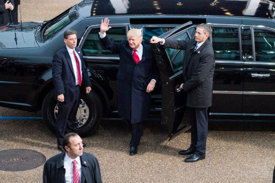 President Donald J. Trump arrives at his inauguration on Jan. 20, 2017.