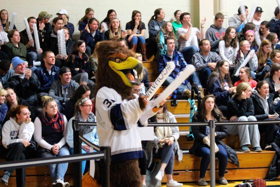 The Saint Anselm Hawk mascot at a spirit rally in November of 2015.