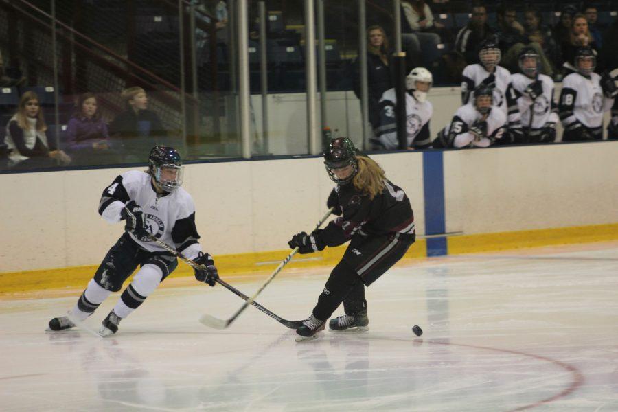 Sophomore Sara McNamara on the ice against Franklin Pierce earlier this season.
