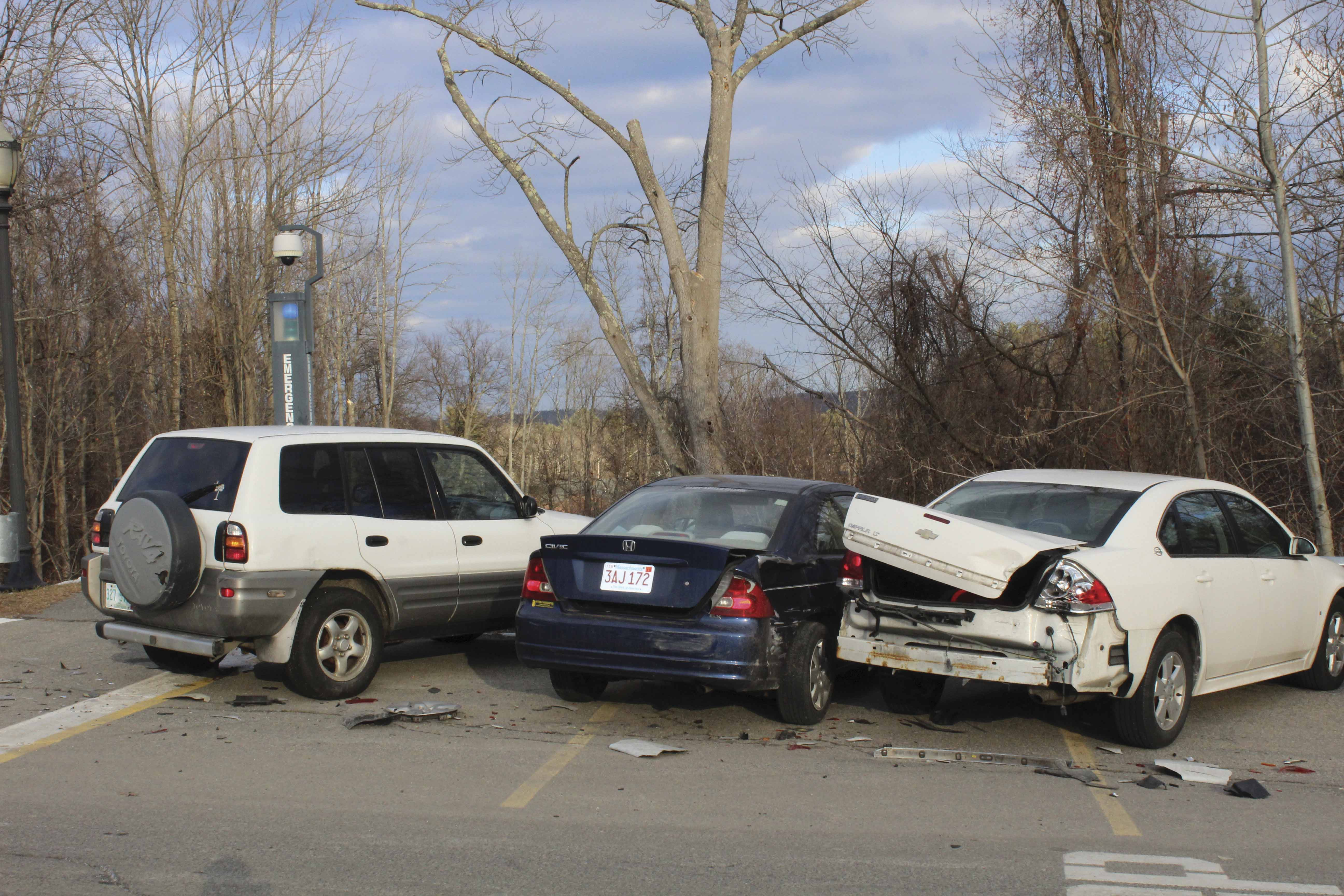 Three student's cars were seriously damaged in a car crash on Jan. 29 in Kavanaugh lot.