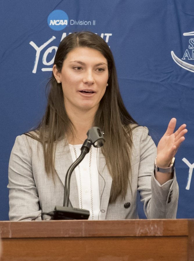 Olivia Connly speaking at the 40 Years of Women's Athletics Event in February.