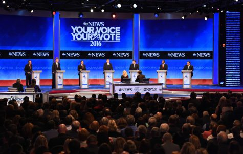 From left to right: John Kasich, Jeb Bush, Marco Rubio, Donald Trump, Ted Cruz, Ben Carson and Chris Christie on stage at the GOP presidential debate held at Saint Anselm in February of 2016.