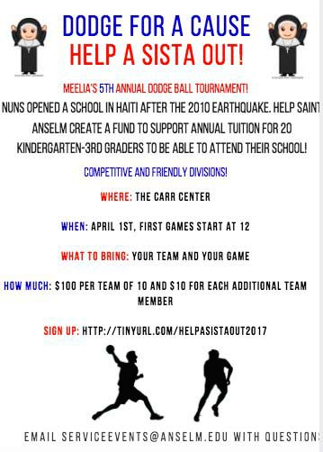 Meelia Center advertisement for the 2017 Dodgeball Tournament.