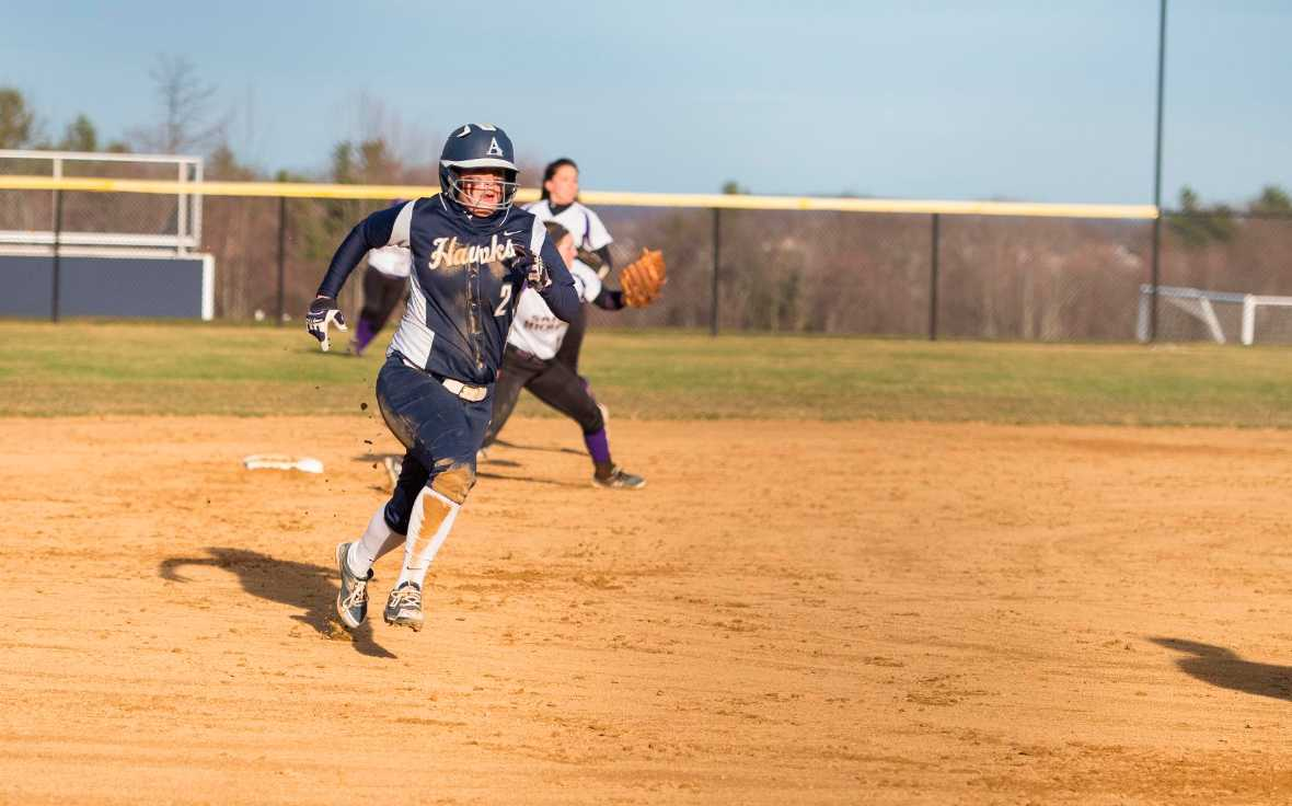 Sophomore Leiandra Wilson looks to round third base and head to home plate.