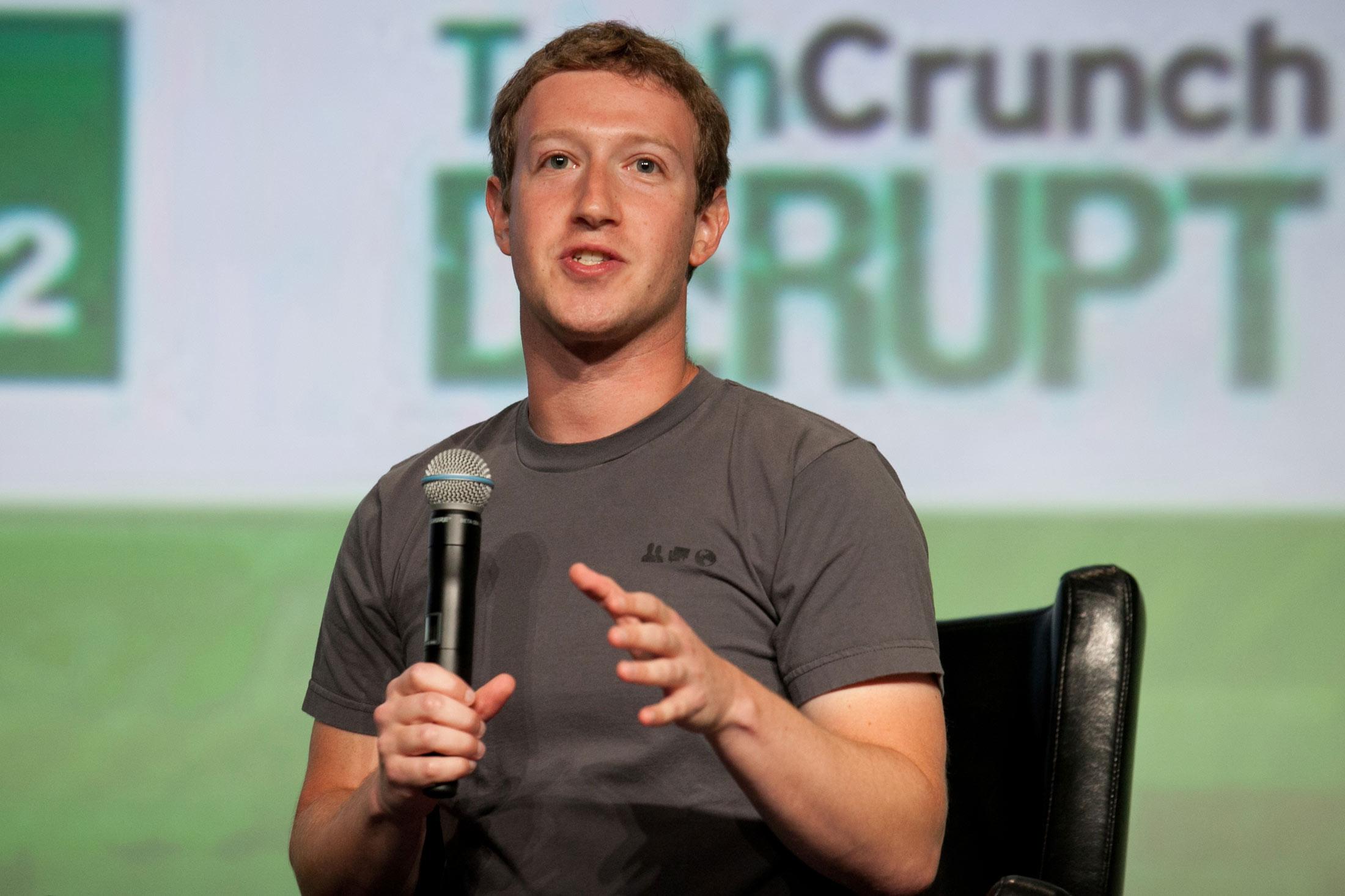 Facebook CEO Mark Zuckerberg at TechCrunch Disrupt 2012.