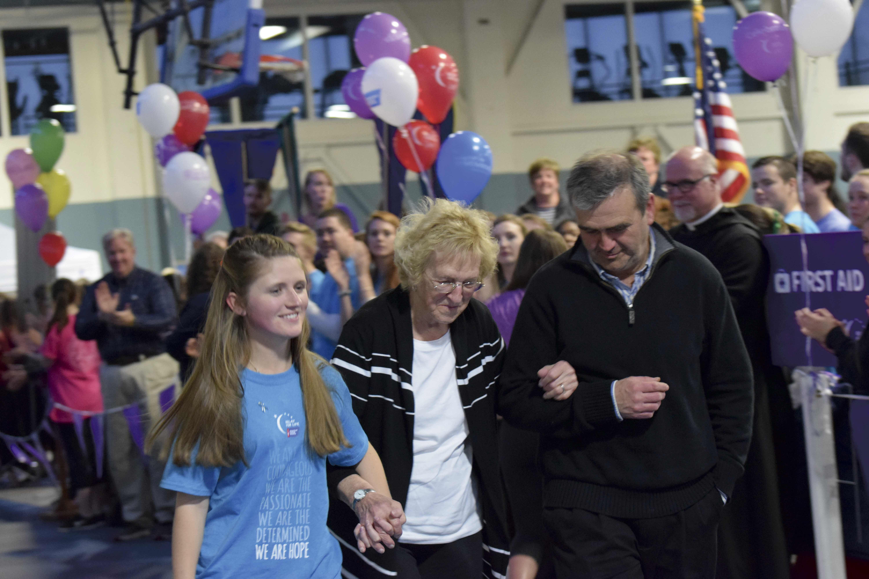 Left to right: Jordan Oullette '17, her grandmother and cancer survivor Hilmaine Stanton, and her father Mark Ouellette.