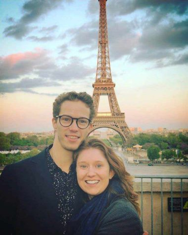 Lauren Batchelder '19 and Jonas Ben Riala visit the Eiffel Tower a few days before they  witness the attack led by Karim Cheurfi on the Champs-Élysées boulevard.