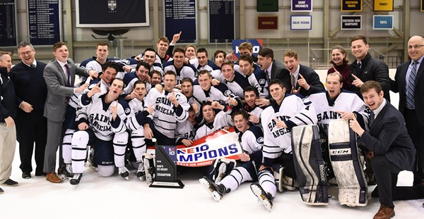 NE10 Champions: men's hockey back on top after 6-5 comeback victory