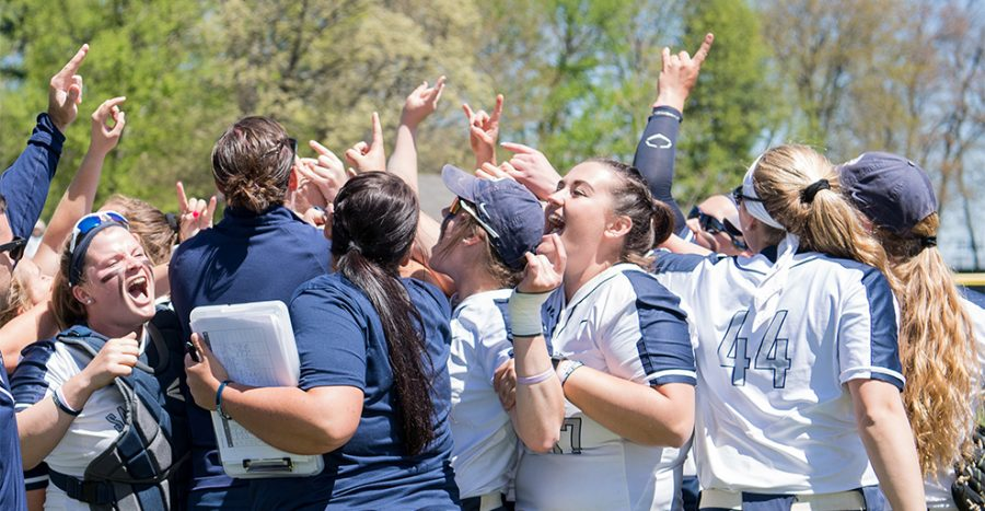 Saint Anselm softball team celebrates one of its many wins of their 2018 season.
