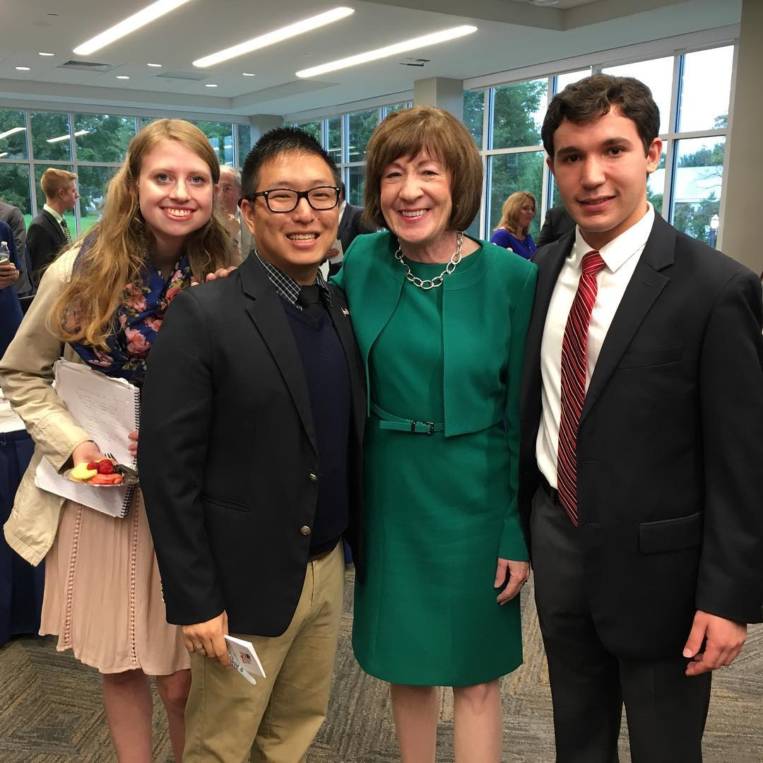 From left to right: Kati Gardella '20, Sean Connor '20, Senator Susan Collins, and Matthew Denaro '21.