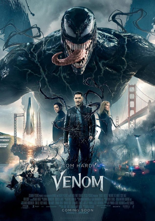 From left to right: Venom's actors Riz Ahmed, Tom Hardy, and Michellle Williams.