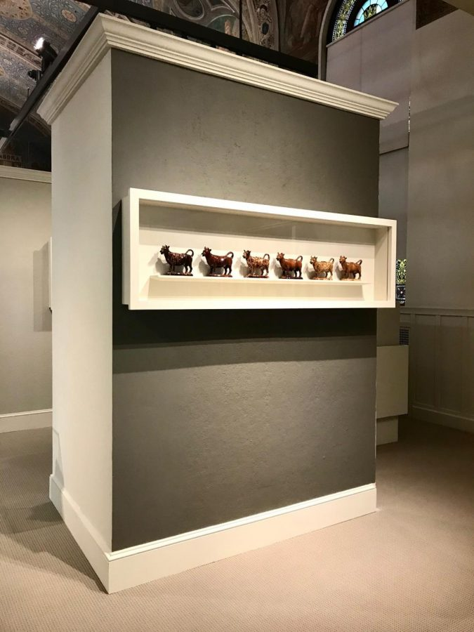 The ceramic cows creamers from the Lucille Davison collection is on display.