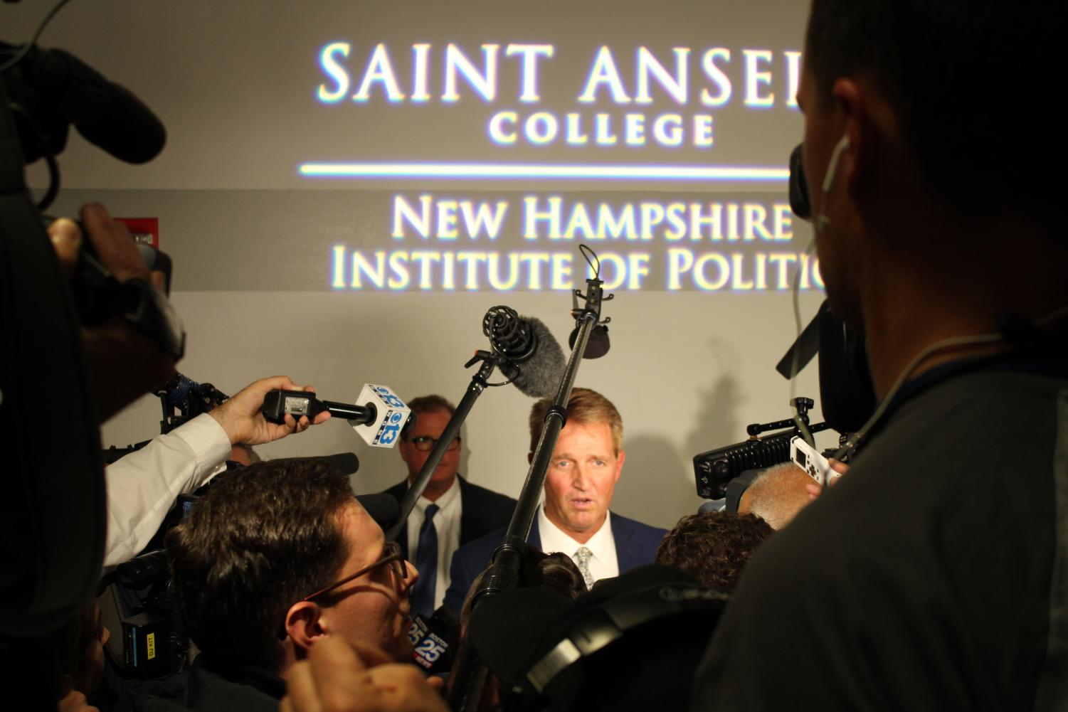 Flake's involvement in the controversial appointment of Brett Kavanaugh to the Supreme Court attracted a big media presence when he spoke at Saint Anselm Oct. 1.