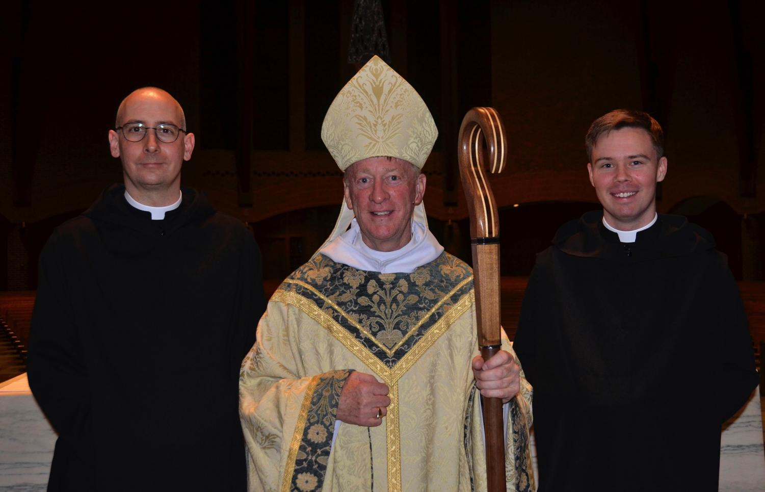 From left to right, Brother Dunstan, Abbot Mark, and Brother Titus at the vow ceremony on January 15.