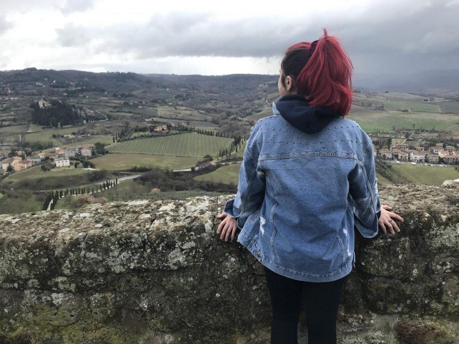 Sophomore Brooke Blackburn overlooking the scenic view of rural Orvieto, Italy.
