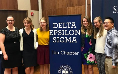 From left to right: Jenna Brisbee '19, Rowan Joyce '19, Sarah Hummel '19, Margaret Sheridan '20, Jillian Petrillo '20, and Sean Connor '20 at the Delta Epsilon Sigma induction