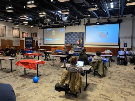 The NHIOP Auditorium was decked out in red white and blue decor as students settled for the watch party.