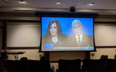 Debate watch party lets students cheer on Pence, Harris or pesky fly