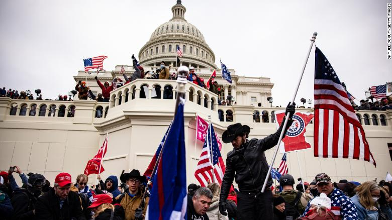 Pro-Trump supporters storm the U.S. Capitol on January 6, 2021 in an effort to delay the certification of the Electoral College votes.