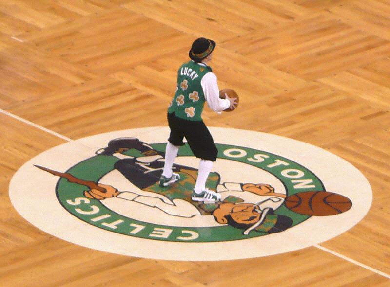 Celtics+mascot+%27Lucky%27+takes+a+half-court+shot+at+TD+Garden.