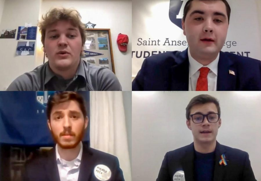 SGA Candidates Rit Flandreau '22, Kevin Chrisom '22, Aidan Pierce '22 and Jackson Peck '22 engaged in speeches to the student body prior to the election.