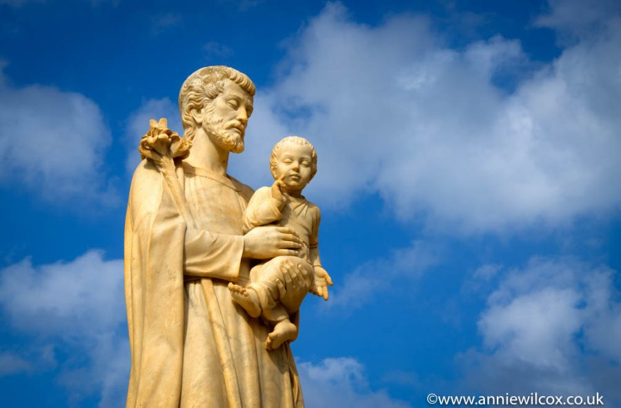 Picture: a statue of Saint Joseph with the child Jesus at Our Lady of Ta Pinu Basilica
