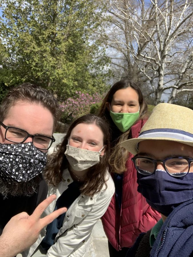 Another option for masks- Fr. Francis, Siobhan Salani, Tom Canuel, and Angel Ho in spring 2021