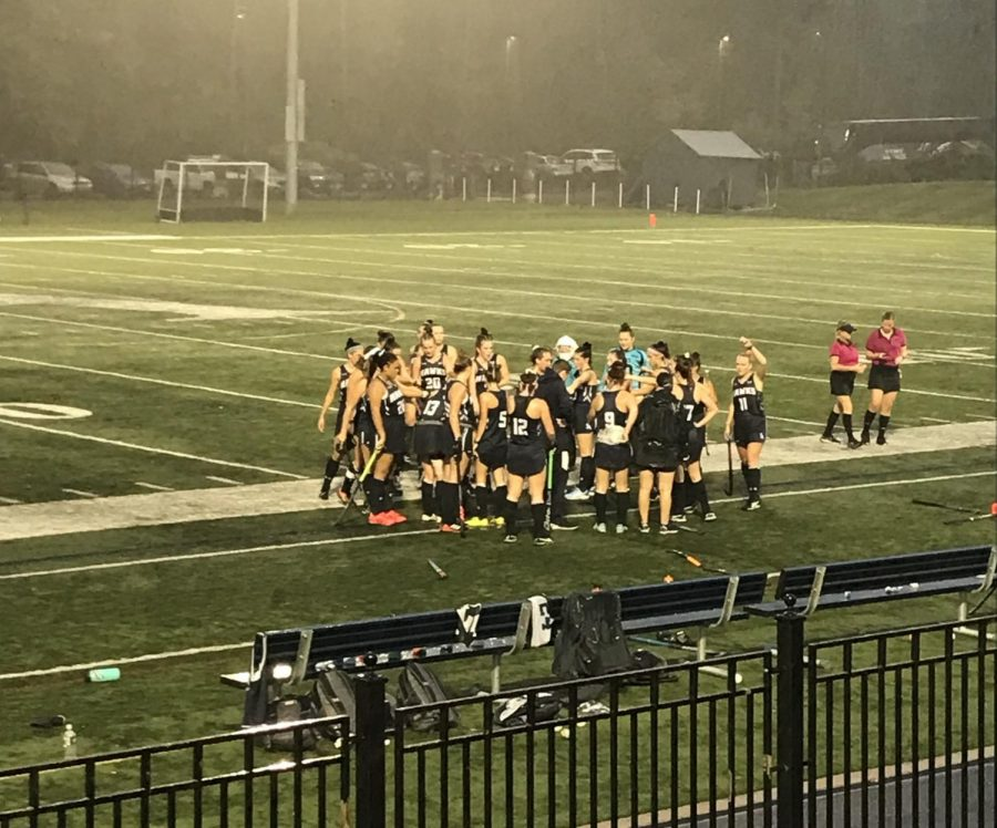 The field hockey team huddles up after a home win on Wednesday September 23.