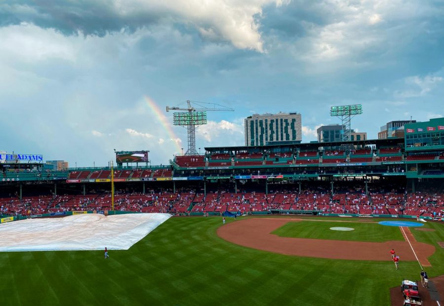 Rainbow spotted over Fenway Park on June 30.