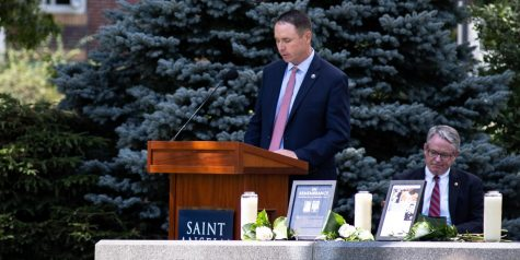 Speaker Kevin Ryan, class of 1994, reflecting on the events of 9/11 at the memorial.