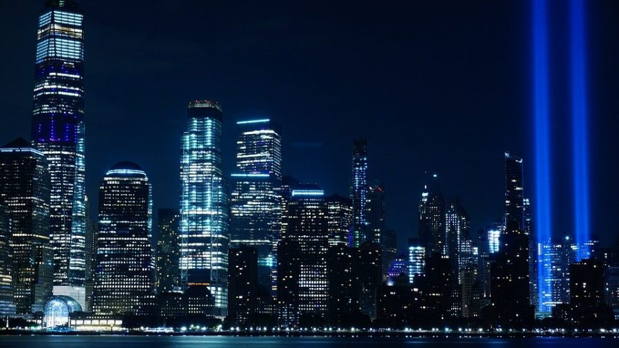 9%2F11+Memorial+lights+up+NYC+Skyline+